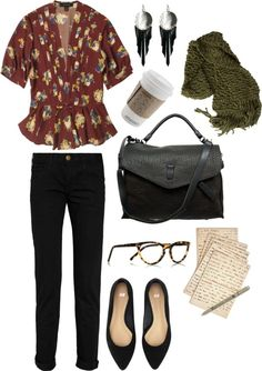 floral top, black skinnies, pointed flats