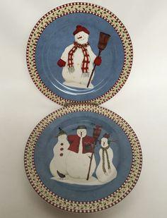 2 Sakura Blue Snowman Plates Lunch Dessert Salad Debbie Mumm Christmas Luncheon #Sakura #LunchDessertSaladPlate