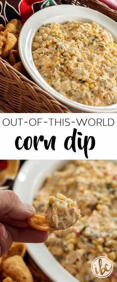 The BEST appetizer recipe! So simple to make and everyone loves it! Out-of-this-Wold Corn Dip via Inspired by Charm