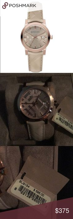 NWT Burberry Watch NWT BU9154. Women's Burberry Watch: rose gold and plaid accents, genuine leather band with plaid design in a soft beige. Includes entire Burberry Watch set (watch, box, manual, outer box, and tag is attached) Never worn and stunning watch! Burberry Accessories Watches