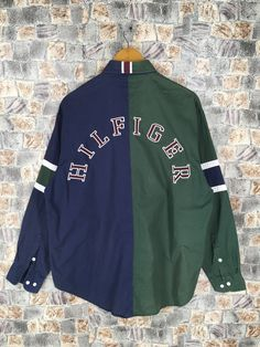 0fbeb664 TOMMY HILFIGER Buttondown Large Tommy Multicolor Vintage 90's Tommy  Colorblock Sailing Gear Oxfords Green/Blue Button Up Shirt Size L
