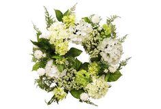 """22"""" Hydrangea & Pom-Pom Wreath, Faux"""