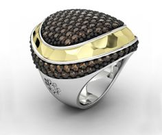 925 Sterling Silver Ring Yellow 18k. Gold CZ Brown. #bohemme #jewelry #ring #glamour #fashion