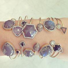 Fifty Shades of Purpley-Gray. #jemmawynne #trunkshow #diamonds #chalcedony #labradorite #onyx #black #blue #gray #purple #bangles #stack #events #youreinvited #love #obsessed #bling #newyork #designers #singlestonemissionstreet