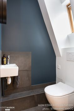 The toilets find their place in a corner of the bathroom - shower Attic Bathroom, Bathrooms, Open Showers, Attic Office, Attic Spaces, Powder Room, Home Projects, Art Deco, Coin