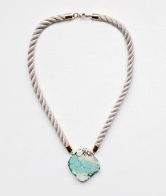 magnesite and rope necklace, this could be pretty simple to DIY