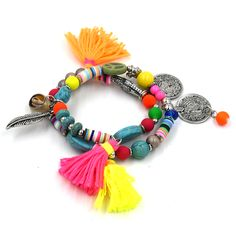 Ethnic Bohemia friendship bracelet colorful tassel charms bracelets beaded Bracelets