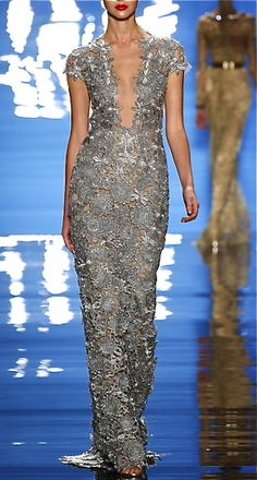 Reem Acra silver grey lace gown