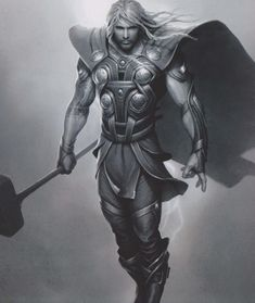 Thor ODINSON (THOR) | Concept ART | A Film: THOR Comic Book Characters, Marvel Characters, Comic Books Art, Comic Art, Marvel Art, Marvel Heroes, Thor Tattoo, Thor Cosplay, Asgard