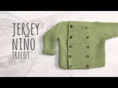 Fácil Jersey punto para bebe 18 meses a dos agujas o agujas circulares - YouTube