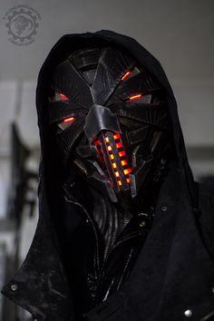 Erebus - Cyberpunk evil dystopian light up helmet by TwoHornsUnited on DeviantArt