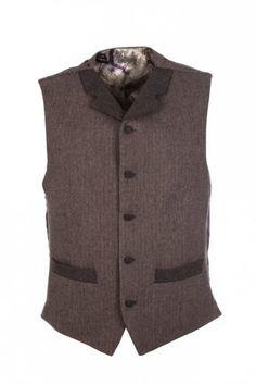 Gibson Herringbone Waist Coat Brown