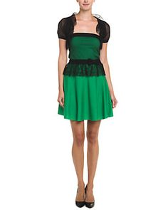 RED Valentino Green & Black Wool Dress