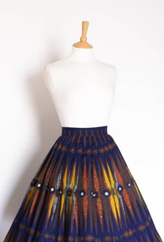 Navy and Mustard African Print Pleated Skirt by digforvictory