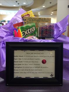 Framed **New Job Survival Kit New Job Survival Kit, Survival Kit Gifts, Welcome New Employee, Employee Gifts, Going Away Parties, Going Away Gifts, Staff Gifts, Client Gifts, Extra Gum