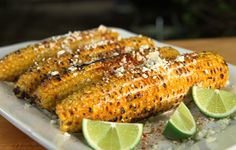 This recipe is great for serving family-style: Put all of the ingredients out separately and let your guests top the corn however they wish. Watch the step-by-step video here.
