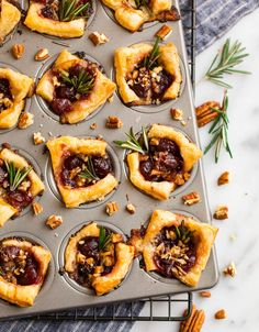 With only a few simple ingredients, these Brie Bites with cranberry and puff pastry are the perfect make ahead dish! They're delicious as Thanksgiving or Christmas appetizers! Make Ahead Christmas Appetizers, Thanksgiving Appetizers, Holiday Appetizers, Appetizer Recipes, Christmas Recipes, Brie Puff Pastry, Puff Pastry Recipes, Traditional Christmas Food, Brie Bites