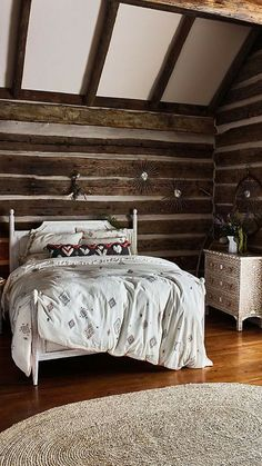 Such a beautiful rustic farmhouse bedroom!  Love the walls, ceiling and floor.  That dresser also looks amazing! #homedecor #rustic #farmhouse #countrystyle #bedroomideas #bedding #wood #affiliate