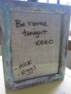 Dry erase magnetic shabby chic..BURLAP message board Turquoise, baby photo prop, kids homework board. $39.00, via Etsy.