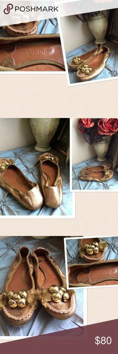 Chloe Gold Flats ❌❌No Offers Price Firm❌❌ Chloe Gold Tone Flats. Detailed clustered buttons with frayed ribbon at the front. Size: 36 US 6-6.5. Gently Preowned. If this condition is not right for you please do not purchase. Cheers🍸🍸 Chloe Shoes Flats & Loafers