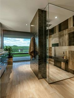Modern contemporary bathroom.  What a view!!