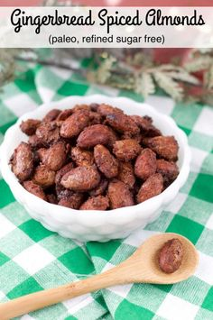 Paleo Gingerbread Spiced Almonds are the perfect gluten-free, refined sugar free holiday treat. The sugared almonds are roasted with gingerbread spices for a sweet crunch.