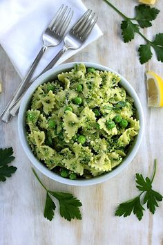Farfalle with Peas, Parsley, and Parmesan.