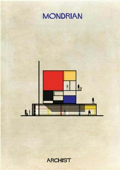 Iconic works from artists including Piet Mondrian, Andy Warhol, Damien Hirst, Marcel Duchamp and more are reinterpreted as cross-sectional drawings of buildings in this series from Italian architect and illustrator Federico Babina. Andy Warhol, Mondrian Kunst, Piet Mondrian Artwork, Art Et Architecture, Architecture Illustrations, Classical Architecture, Plakat Design, Famous Artwork, Kunst Poster