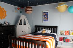 outer space room, paper lantern planets, solar system, rocket
