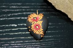 Lovely Black and Fiery red Gold Heart For by Peelirohini on Etsy,