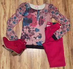 Top Shown with Cranberry Skinny Jean (Denim) and Ankle Boots which are Unavailable