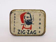VINTAGE ZIG ZAG TOBACCO BOX TIN CAN