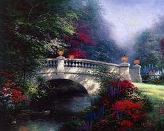 The Broadwater Bridge Thomashire Thomas Kinkade art for sale at Toperfect gallery. Buy the The Broadwater Bridge Thomashire Thomas Kinkade oil painting in Factory Price. Thomas Kinkade Art, Kinkade Paintings, Thomas Kincaid, Art Thomas, River Park, Belleza Natural, Famous Artists, Paintings For Sale, Oil Paintings
