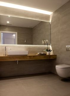 Full width wall to wall mirror with LED behind top and bottom. wall hung worktop and toilet. Oliver by enblanc Bathroom Layout, Modern Bathroom Design, Contemporary Bathrooms, Bathroom Interior Design, Bath Design, Small Bathroom, Bathroom Taps, Bad Inspiration, Bathroom Inspiration
