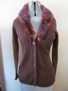 Vtg Tarrsi Cardigan Sweater Genuine Fox Collar M by ThenForNow