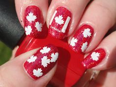 Happy Belated Canada Day to all my Canadian nail pals! Here and abroad.as I know I frequently get messages from gals who are Canadian and. White Nail Designs, Gel Nail Designs, Nails Design, Hair And Nails, My Nails, Opi Red, Flag Nails, Canadian Things, Canada Day