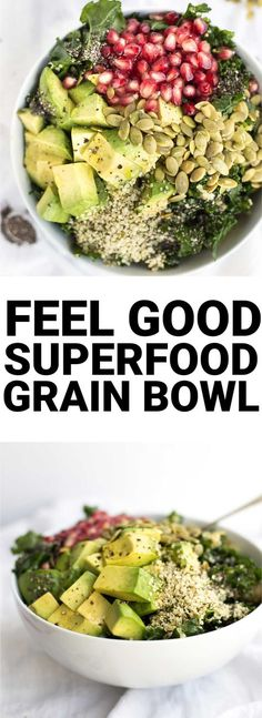 Feel Good Superfood Grain Bowl: a vegan and gluten free lunch or dinner that's packed with healthy ingredients like kale, hemp seeds, and chia seeds! @bobsredmill #BRMNewYear || http://fooduzzi.com recipe