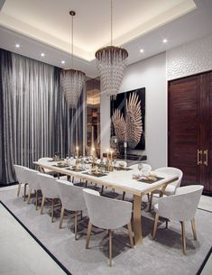 Neutral Living Room With Gold - Family Villa Contemporary Arabic Interior Design Riyadh, Saudi Arabia. Elegant Dining Room, Luxury Dining Room, Dining Room Design, Dining Room Table, Luxury Living, Dining Room Modern, Modern Living Room Design, Luxury Dining Tables, Small Dining