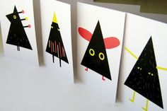 Contemporary Christmas Cards - hairy, flappy, chirpy, glammy