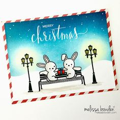Lawn Fawn Bunnies On Park Bench Christmas Card by Melissa Bowden.