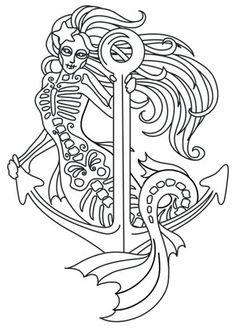 muerte mermaid - Tattoo Coloring Book Pdf