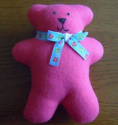 Easy Free teddy bear sewing pattern. Good for the girls to earn sewing patch. Can also be a service project.