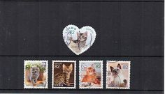 5 cute cat Japanese stamps used Japan postage. Small different stamps Asian, crafts art collect, decoupage. Scan enlarged.
