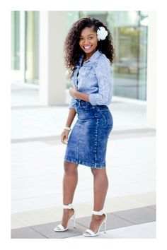 The combo of a light blue denim shirt and a blue denim pencil skirt makes for a solid relaxed ensemble. A pair of white leather heeled sandals will be a welcome accompaniment for your outfit. Denim Pencil Skirt, Denim Skirt, Leather Skirt, Meagan Good, Blue Denim Shirt, Blue Jeans, Black Women Fashion, Beautiful Black Women, Beautiful Legs