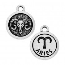 TierraCast Zodiac Charm Collection, Aries Symbol 19x15.25mm, 1 Piece, Antiqued Silver Plated