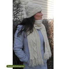 This Merino Wool Irish Aran scarf may look familiar to some as it was featured in the London fashion show numerous times over the past year. The scarf is handmade from Merino wool and looks stylish and can be added to any outfit. Irish Clothing, Irish Fashion, Irish Traditions, London Fashion, Merino Wool, Fashion Show, Knitting, Stylish, Cherokee