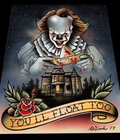 Image of Pennywise (IT 2017) Tattoo Flash Art Print