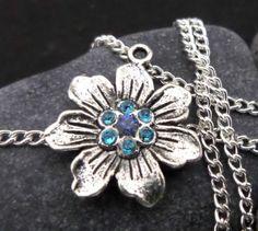 Collar-de-mujer-Tibetan-silver-flower-necklace-jewelry-Color-crystal-Handmade