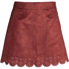 Imitation Suede Skirt $24.99 ($25) ❤ liked on Polyvore featuring skirts, scalloped skirt, red knee length skirt, red print skirt, scallop edge skirt and faux suede skirt