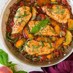 Peach Chicken {with Balsamic} - Cooking Classy Parmesan, Peach Chicken, Balsamic Chicken, Balsamic Vinegar, Cooking Recipes, Healthy Recipes, Healthy Foods, Chicken Skillet Recipes, Dinner Recipes